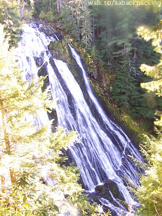looking down at Diamond Creek Falls